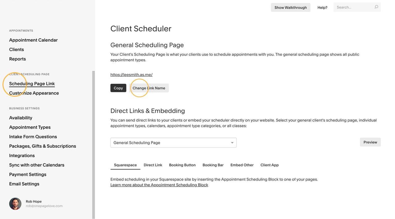Squarespace Scheduling - Changing Link Name Screenshot