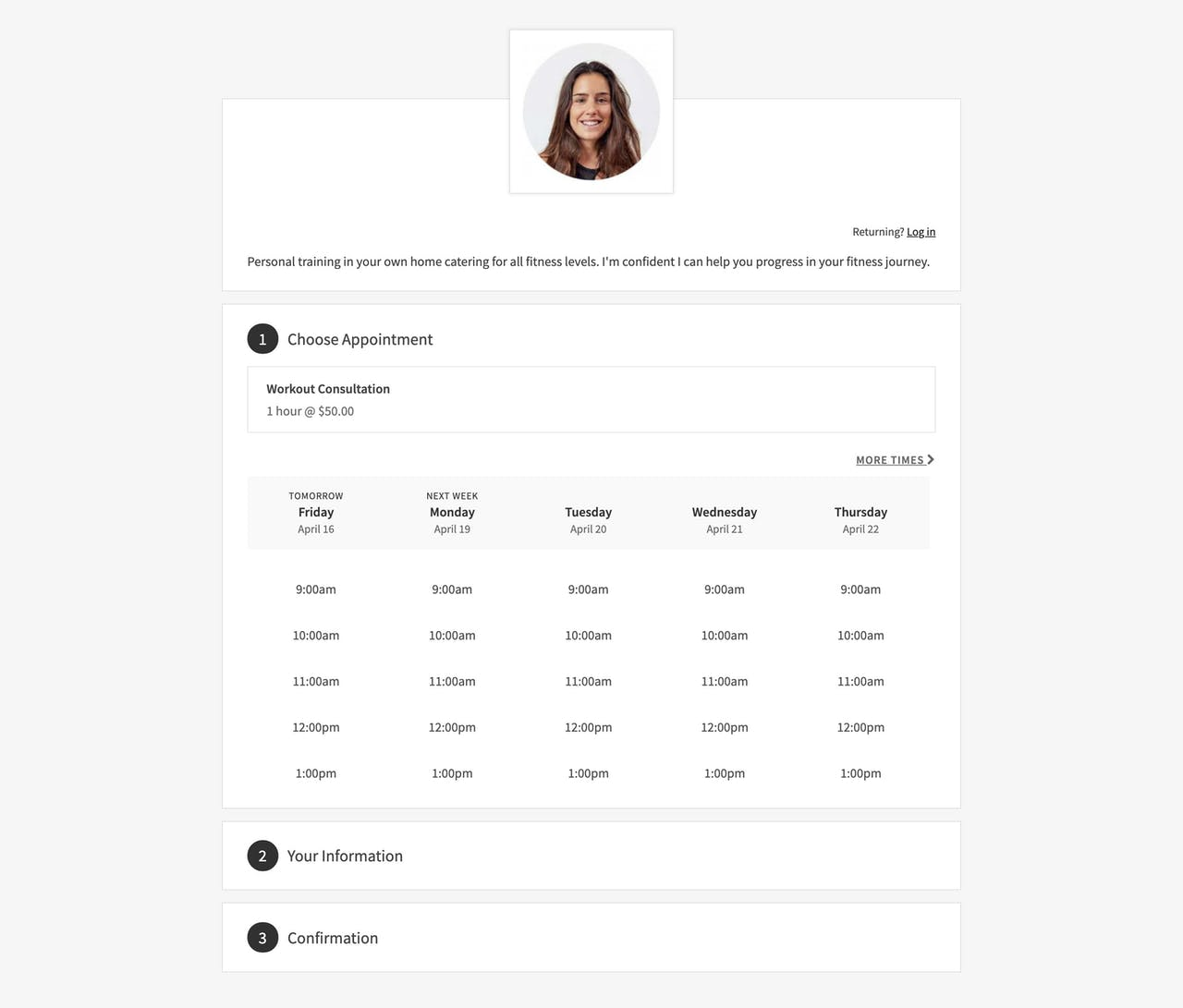 Squarespace Scheduling - Demo Screenshot