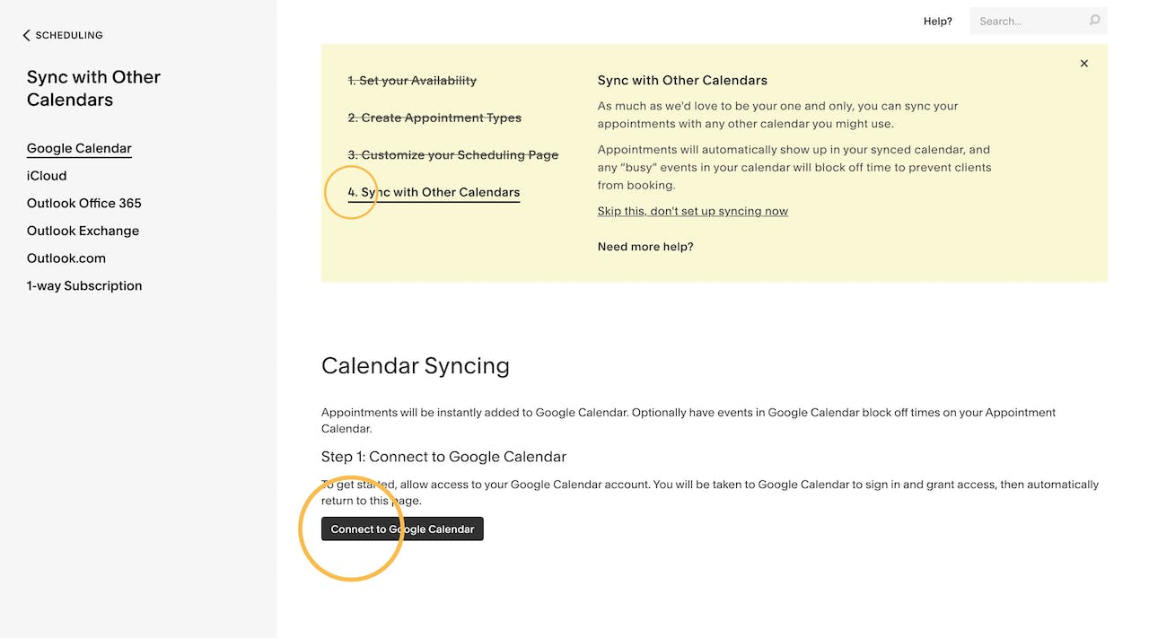 Squarespace Scheduling - Syncing Calendars Screenshot