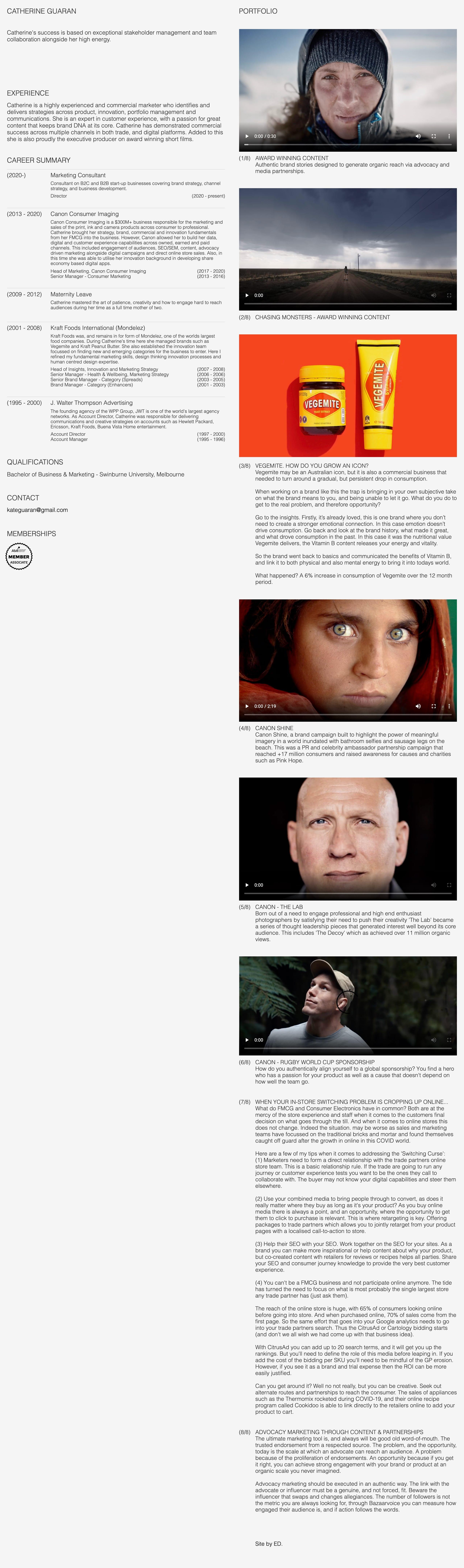 Catherine Guaran Website Screenshot