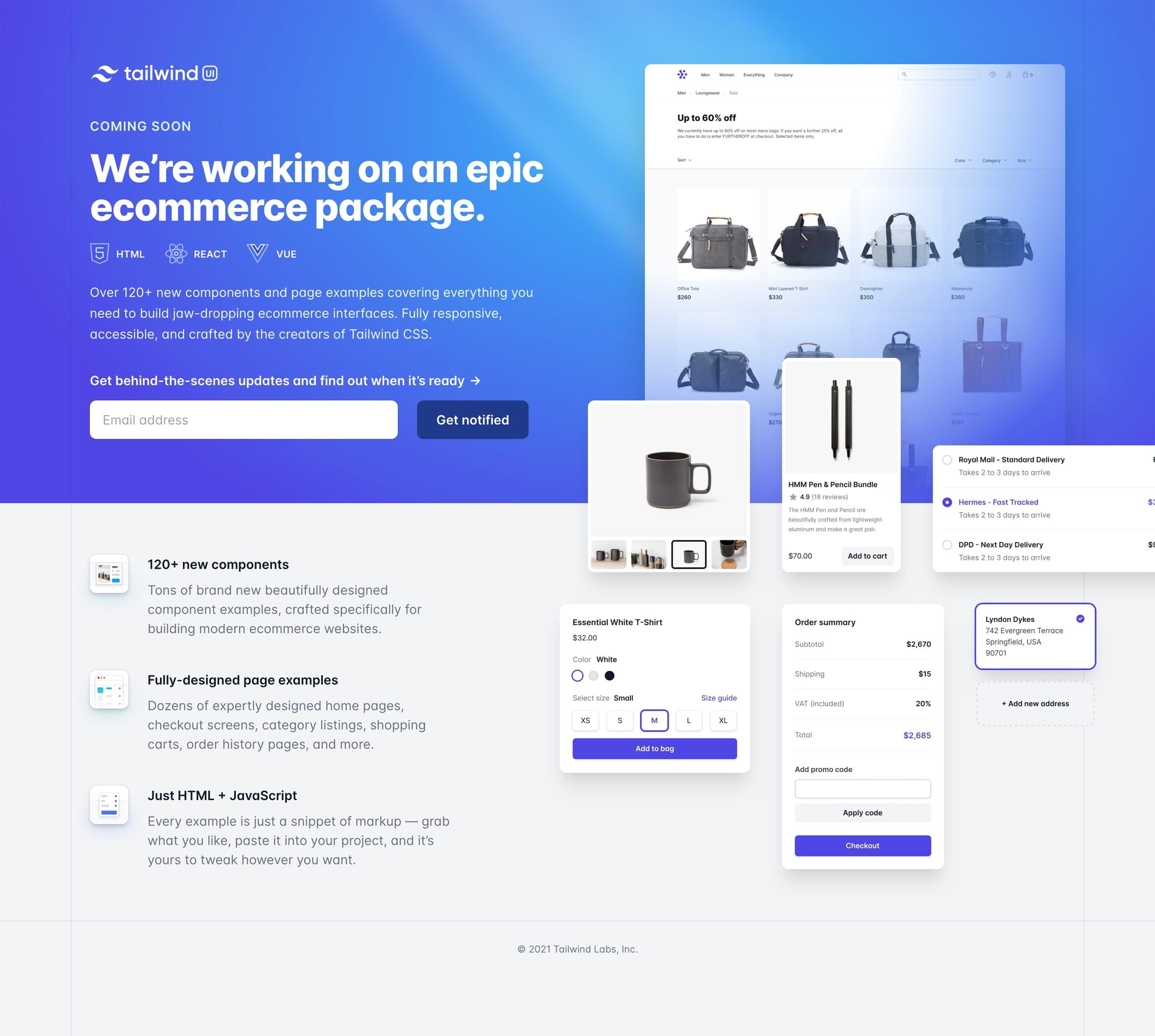 Tailwind UI Ecommerce Website Screenshot