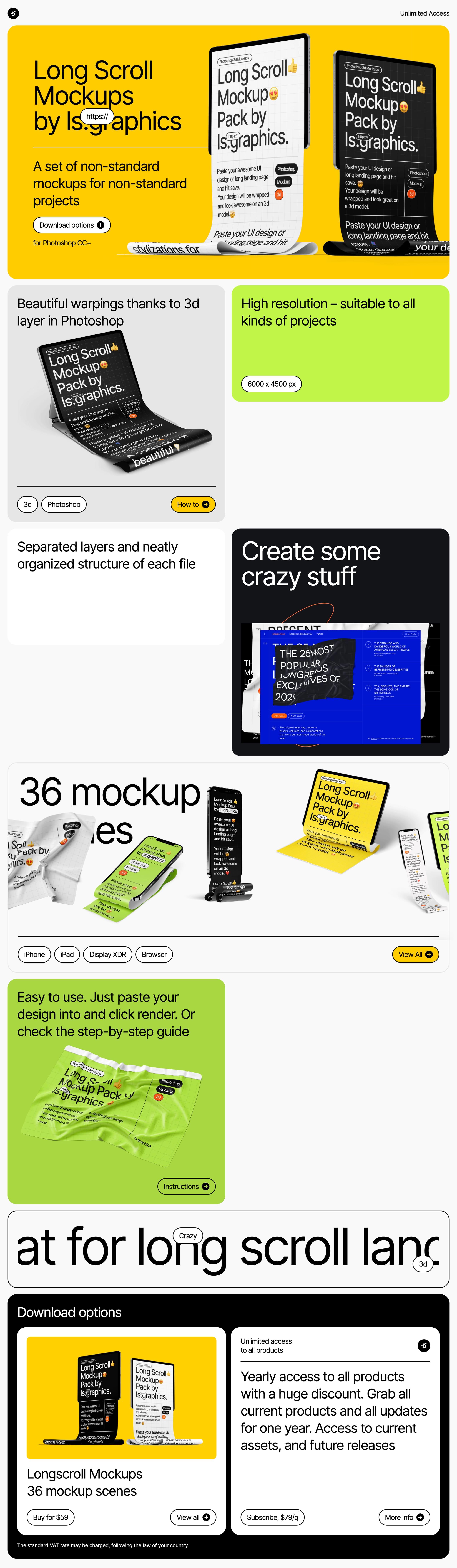 Long Scroll Mockups Website Screenshot