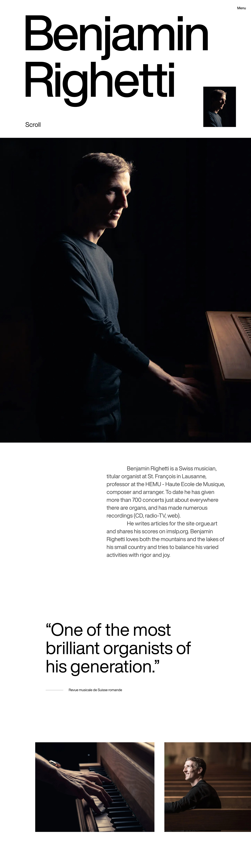 Benjamin Righetti Website Screenshot