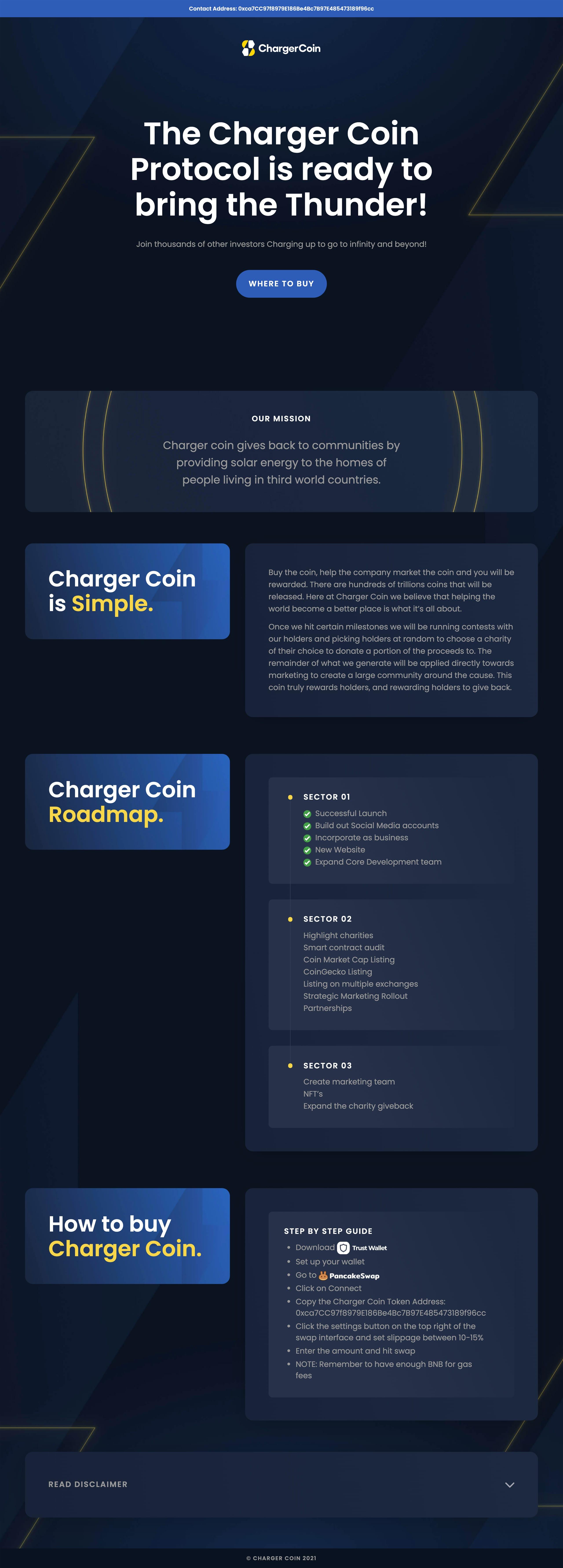 ChargerCoin Website Screenshot
