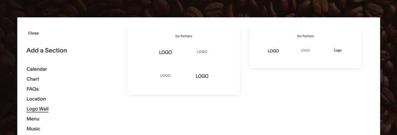 Squarespace Logo Wall section Screenshot