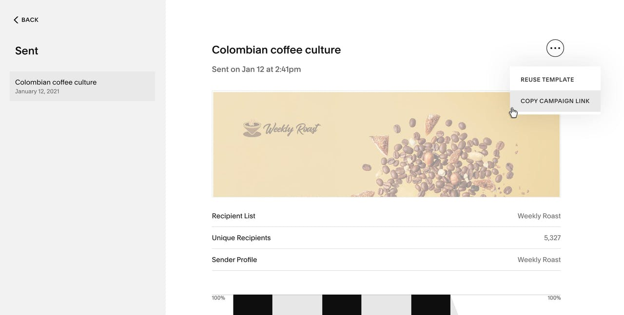 Squarespace Email Marketing sent campaigns Screenshot
