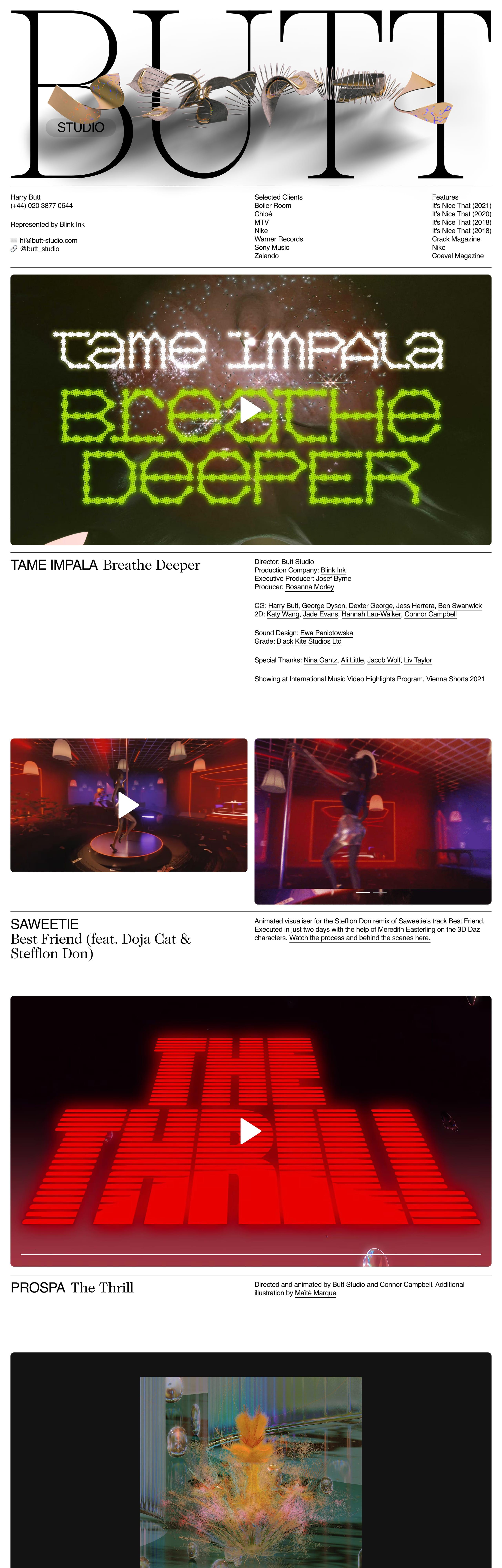 Butt Studio Website Screenshot