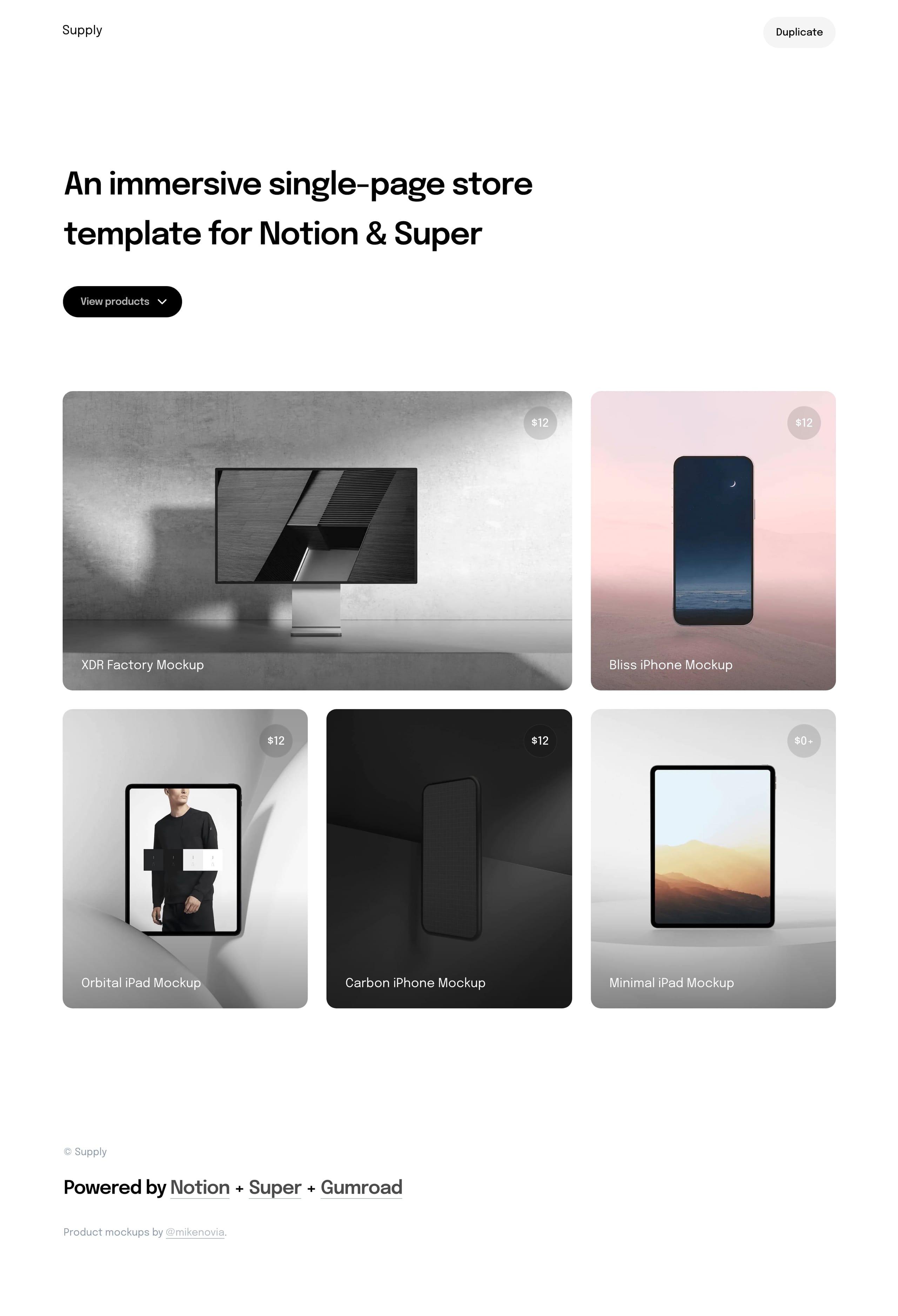 Supply Website Screenshot