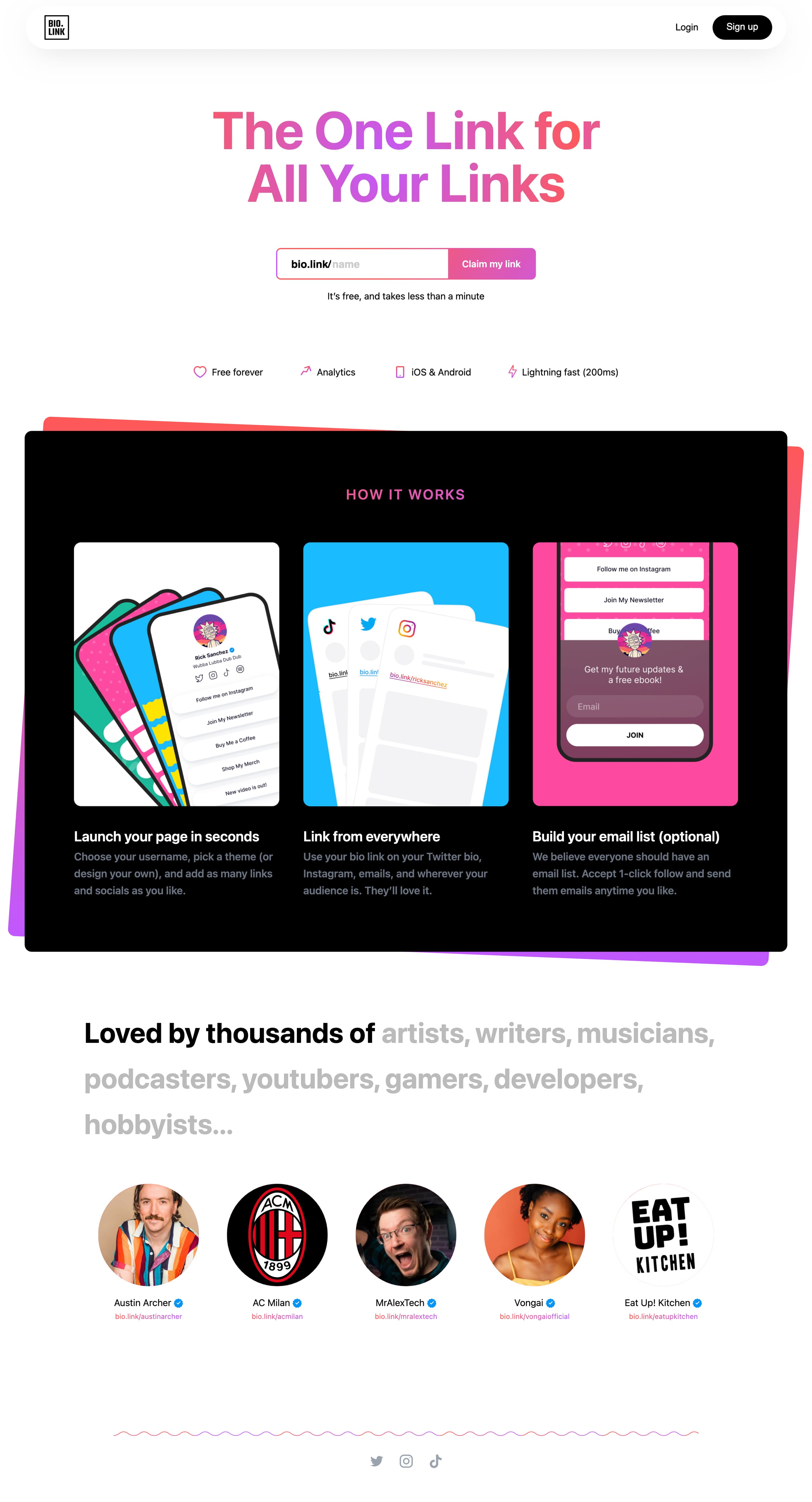 Bio Link Website Screenshot