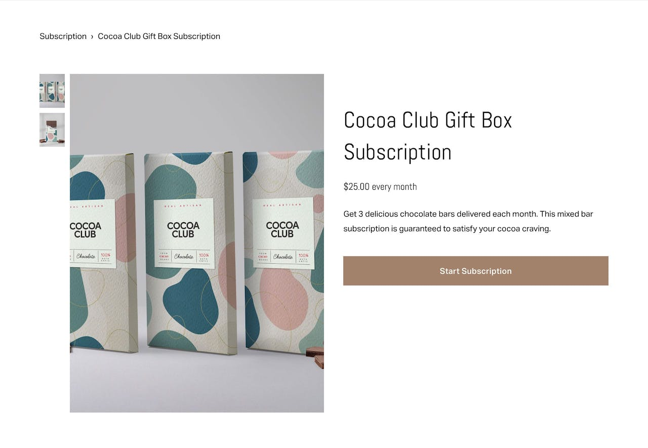 Squarespace Physical Subscription Product  Screenshot