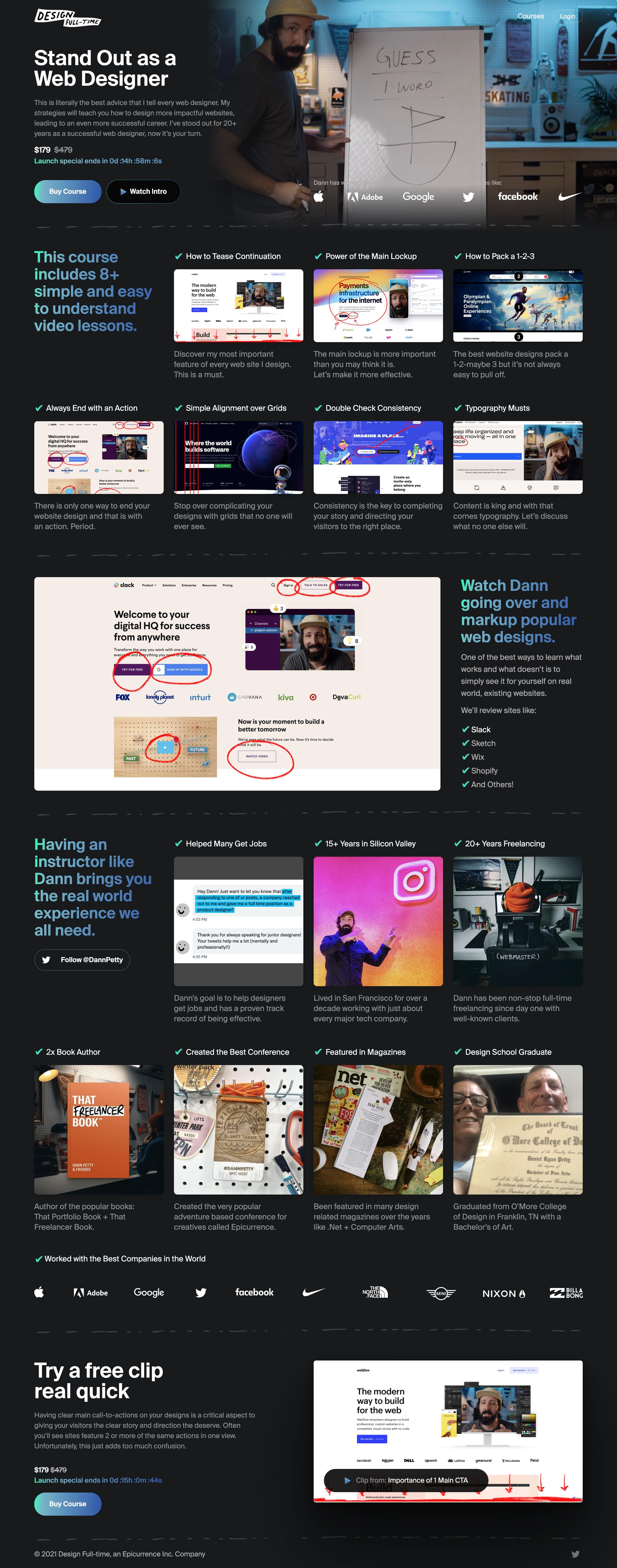 Standout as a Web Designer Website Screenshot