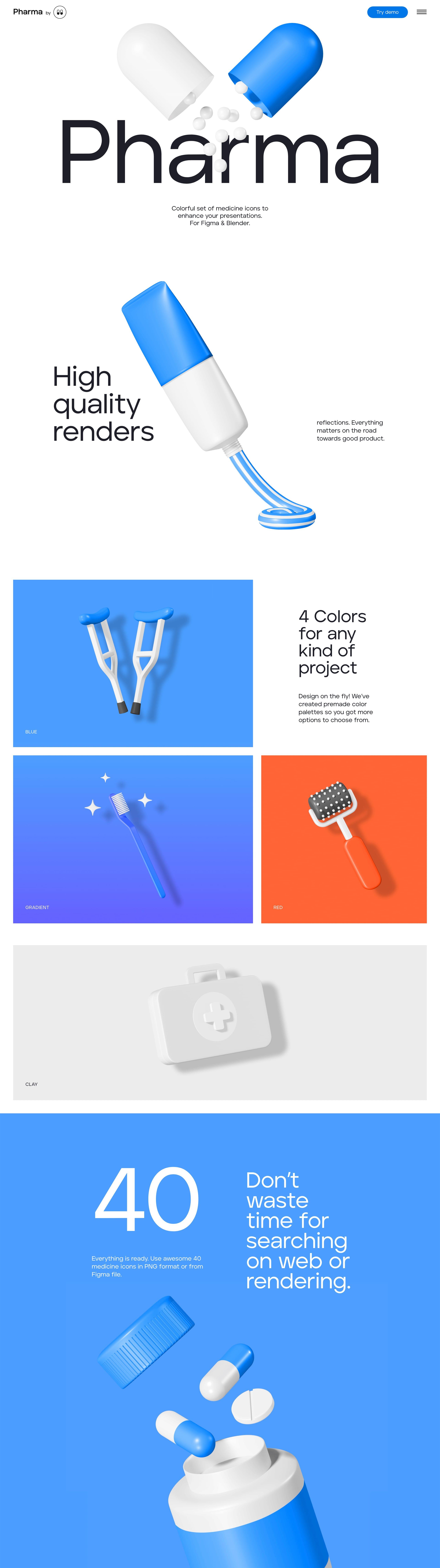 Pharma 3D Icons Website Screenshot