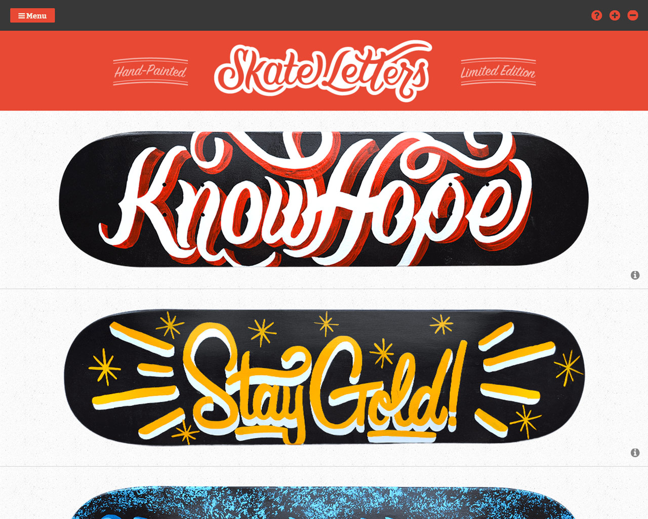 Skate Letters Website Screenshot