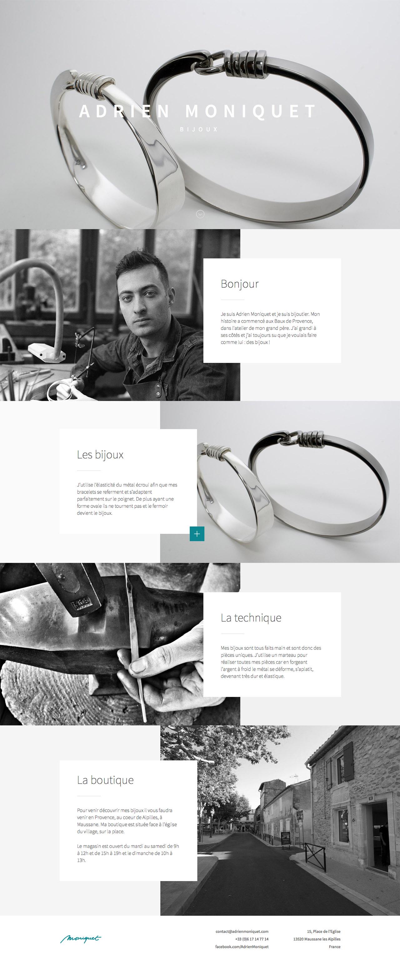 Adrien Moniquet : Bijoutier Website Screenshot