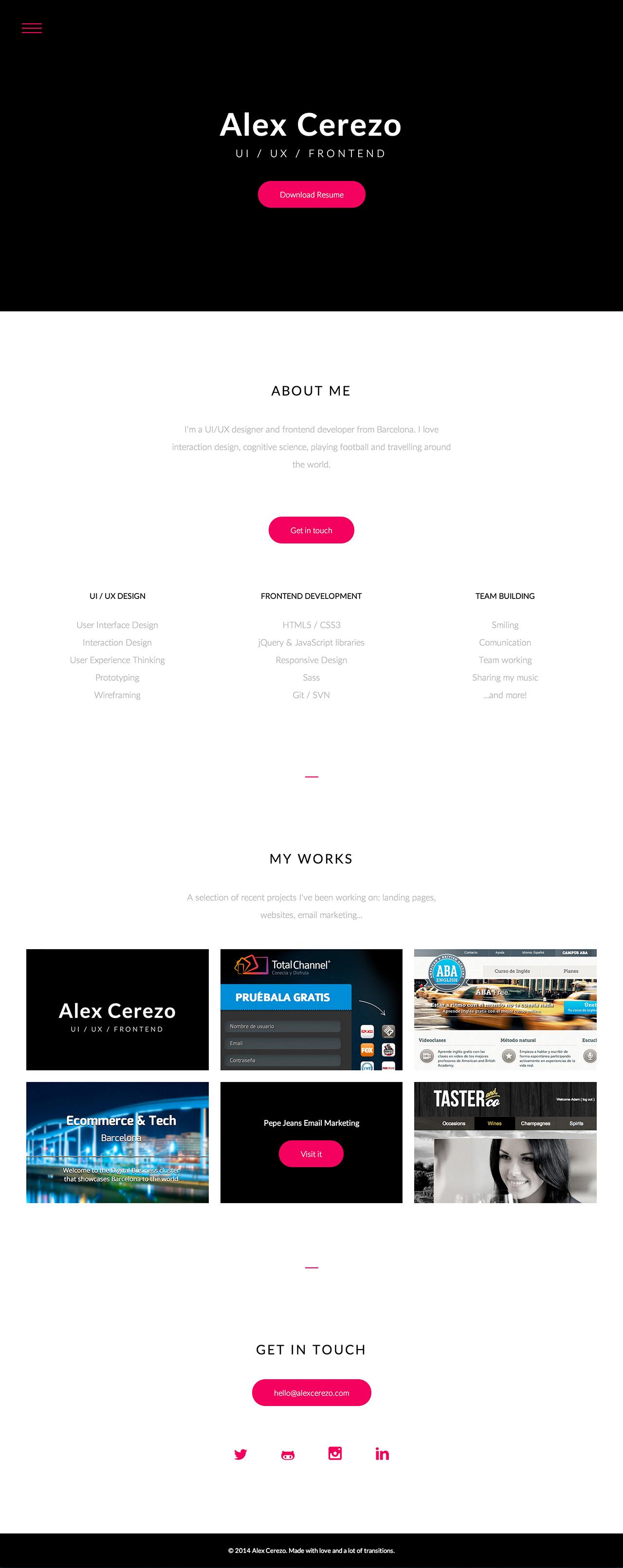 Alex Cerezo Website Screenshot