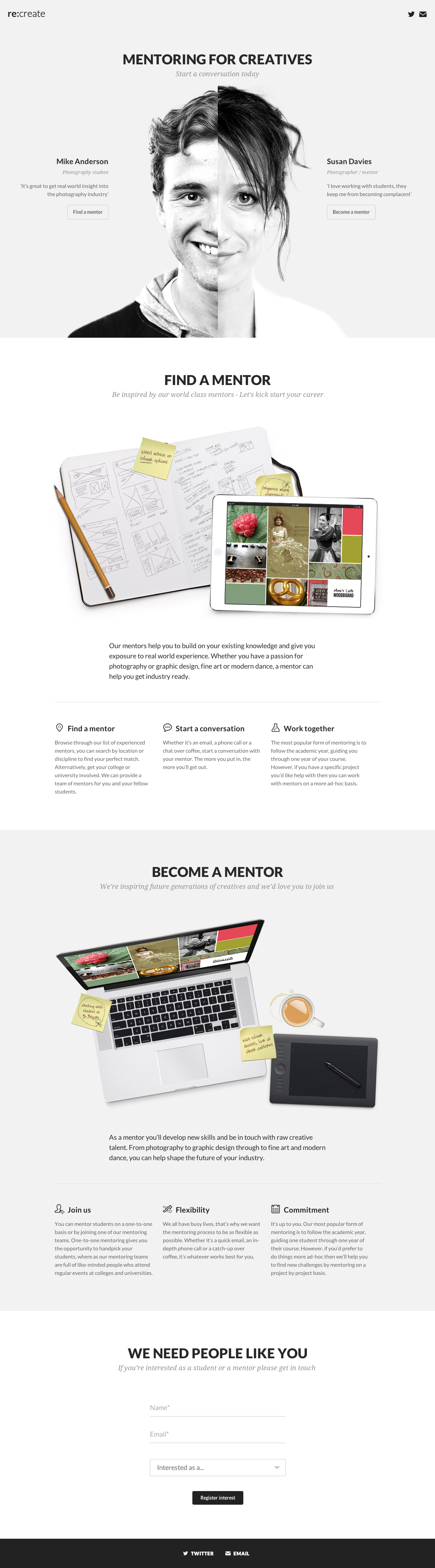 re:create Website Screenshot