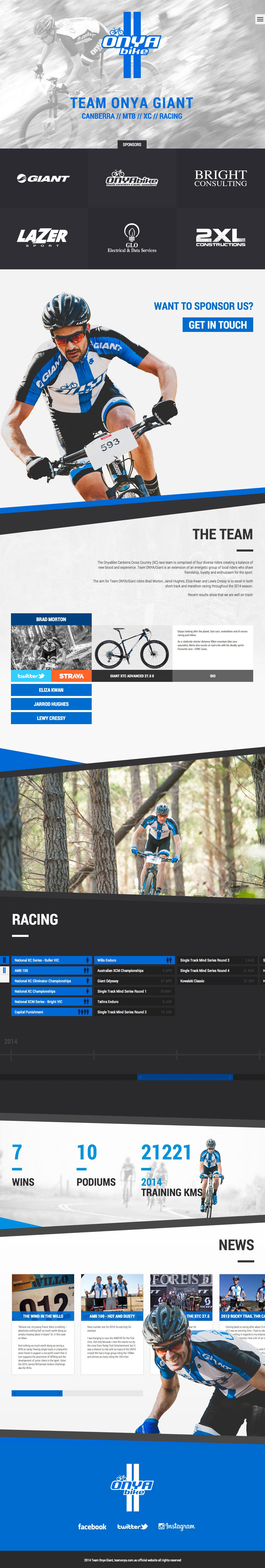 Team Onya Giant Website Screenshot