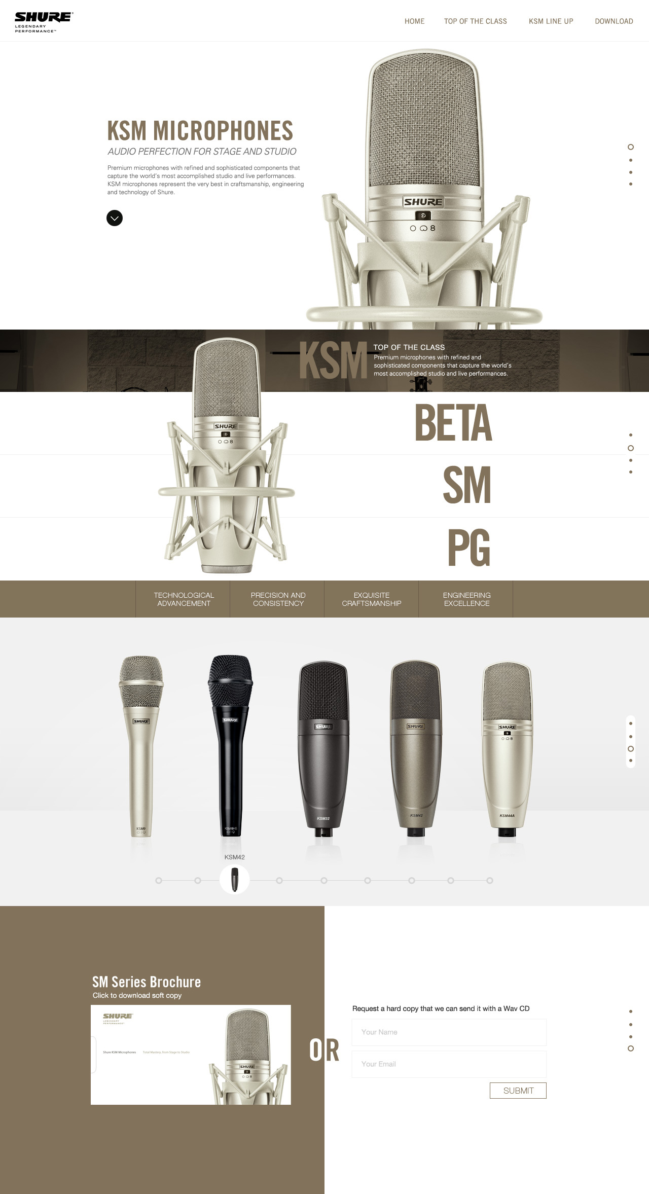 Shure KSM Microphones Website Screenshot