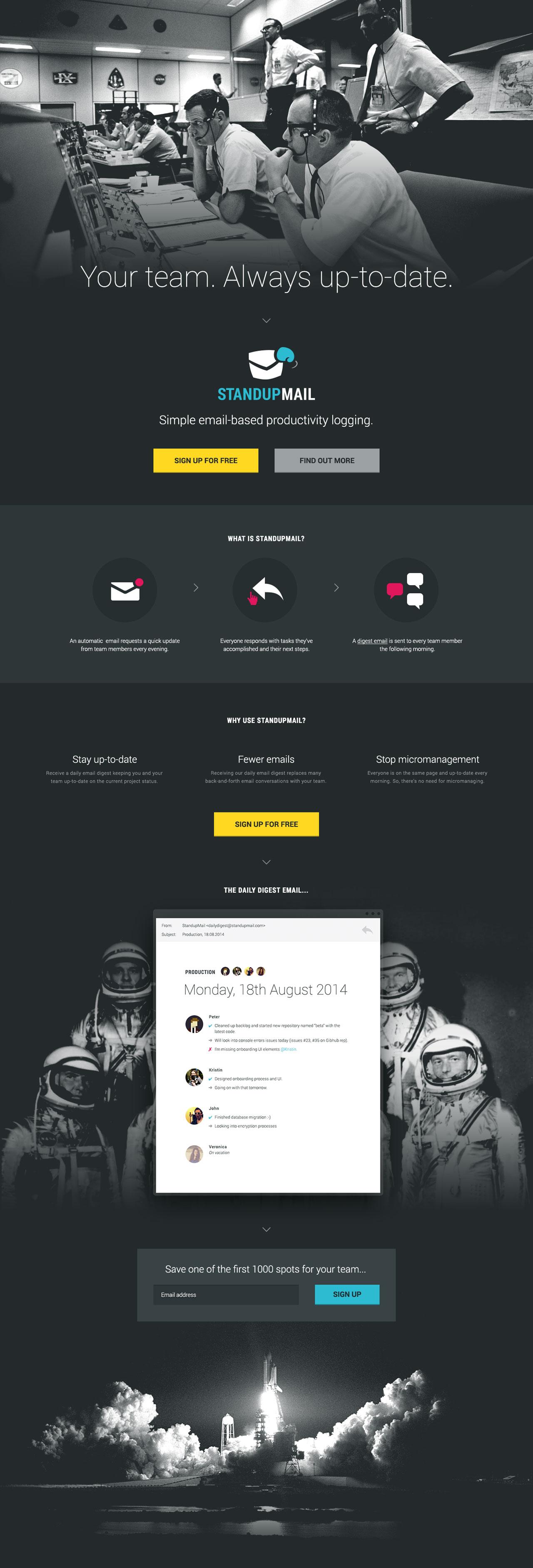 StandupMail Website Screenshot