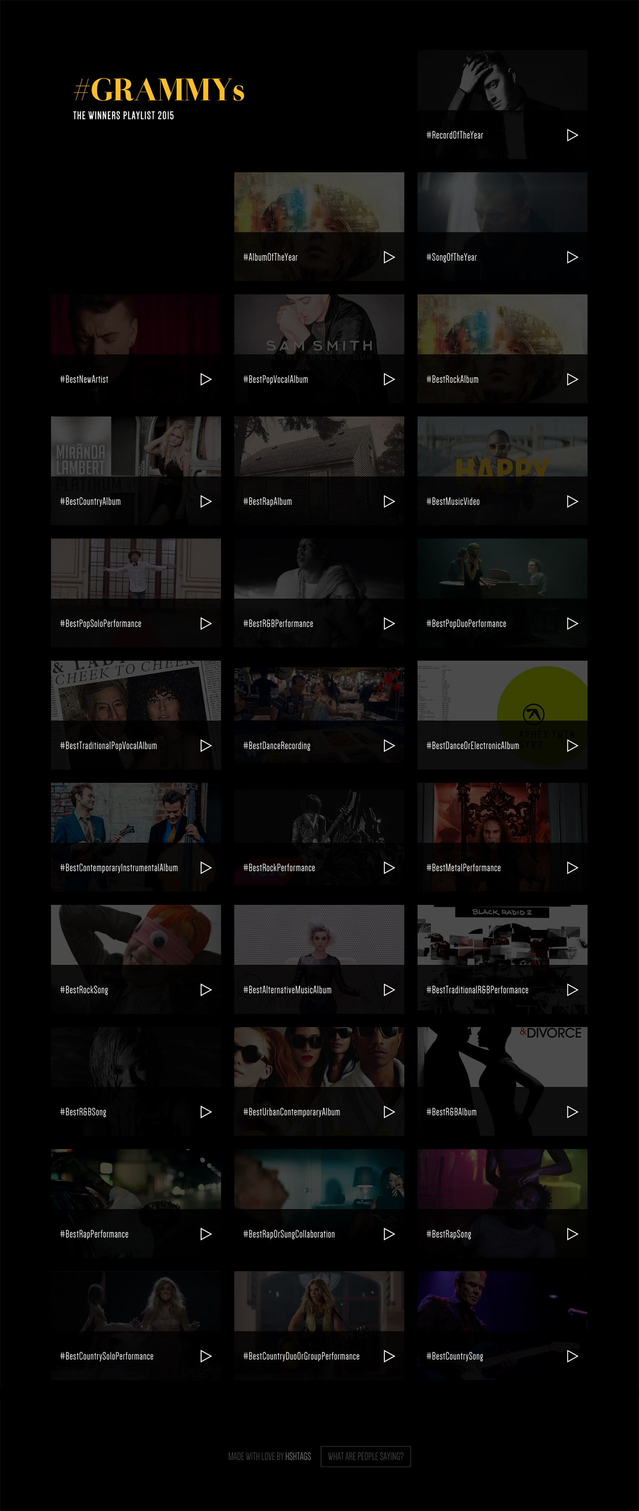 Winners Playlist for #Grammys Website Screenshot