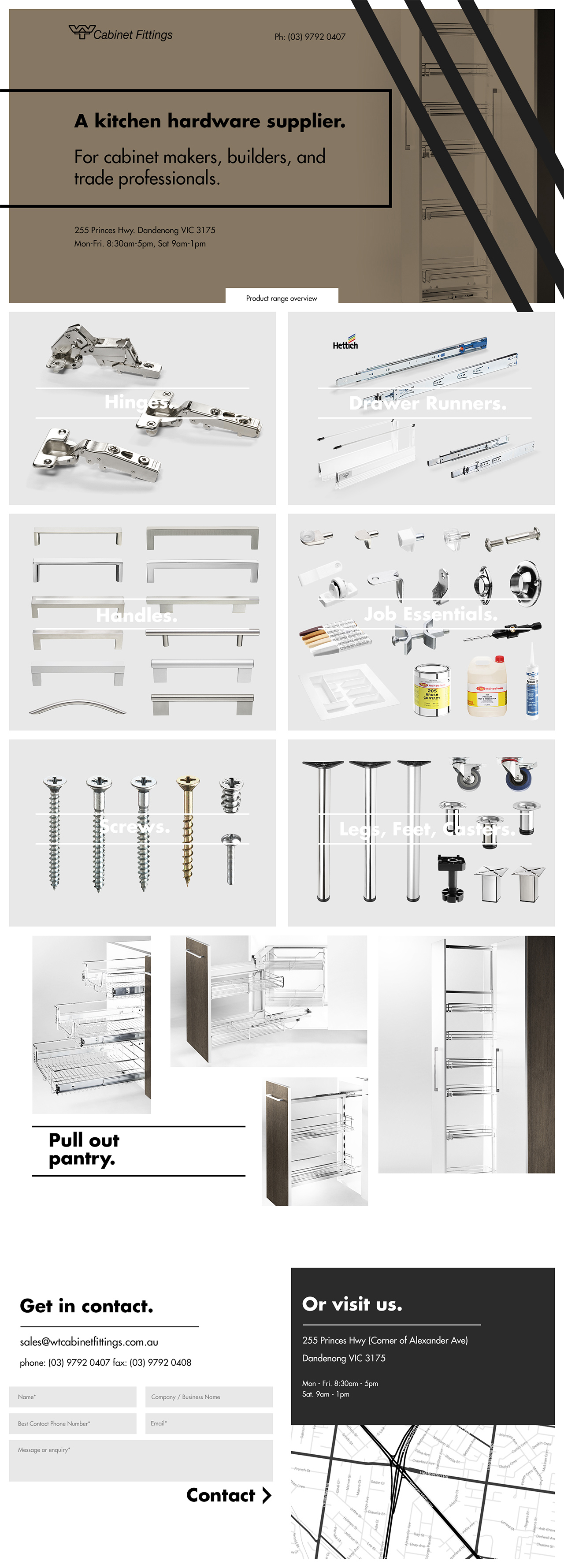 WT Cabinet Fittings Website Screenshot