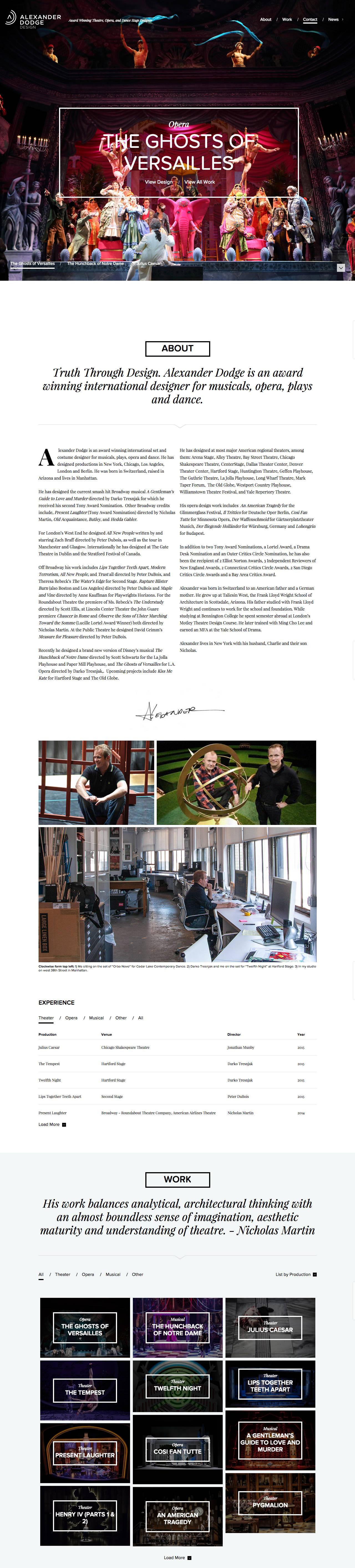 Alexander Dodge Design Website Screenshot