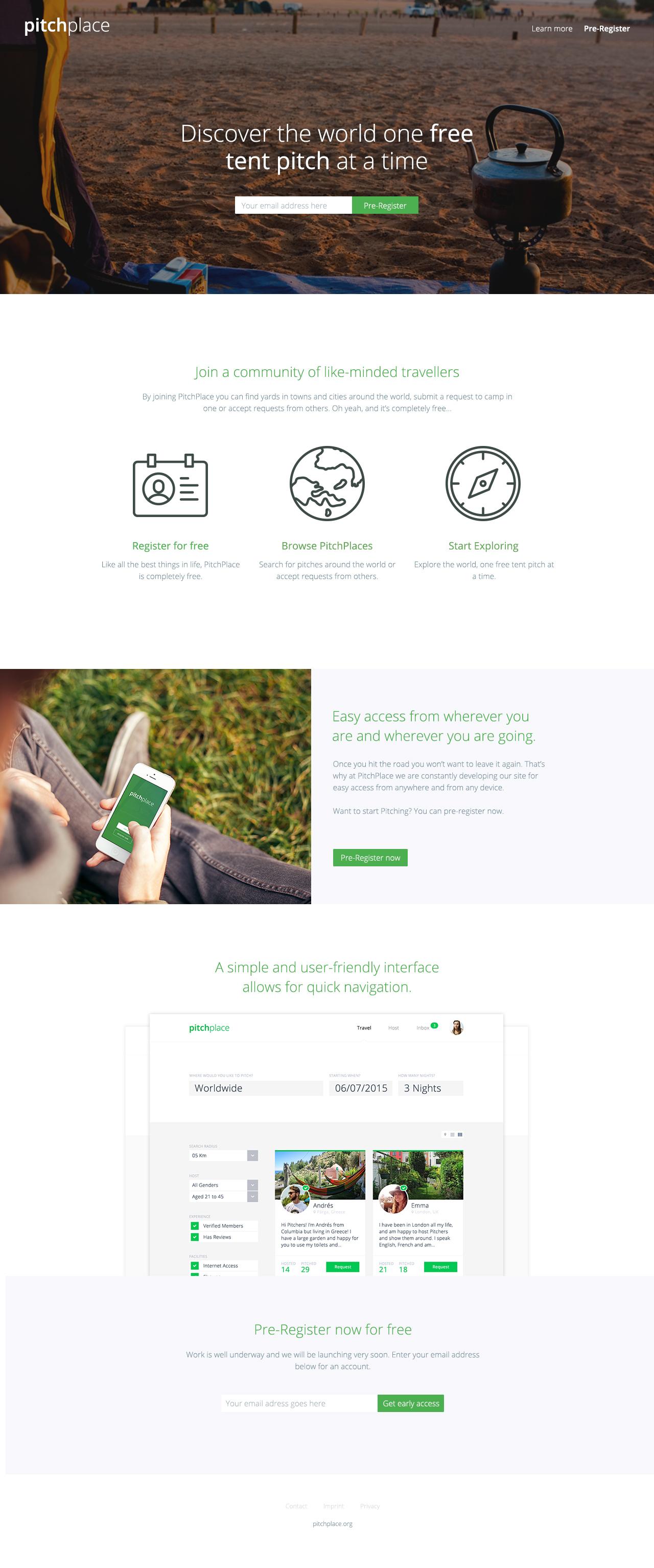 PitchPlace Website Screenshot