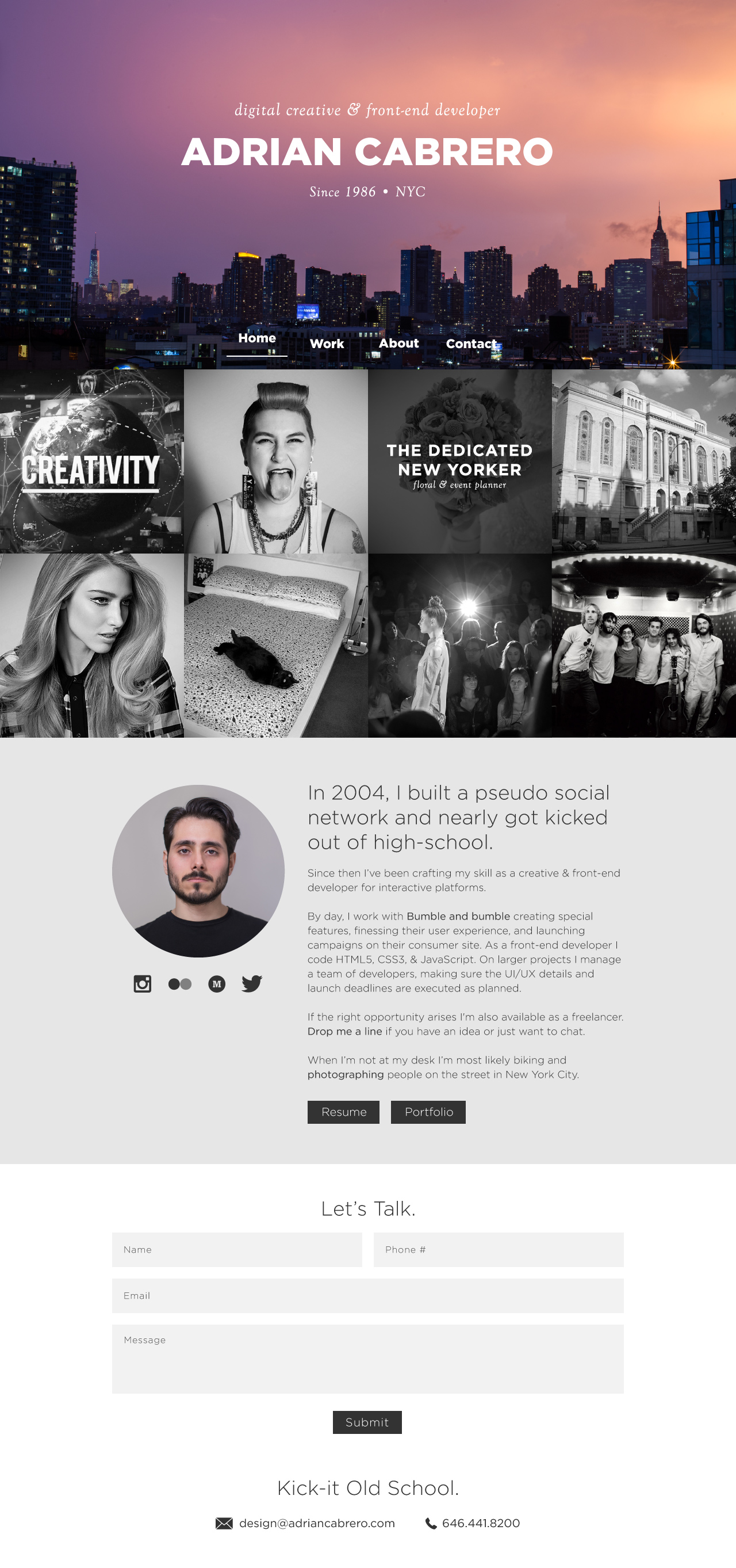 Adrian Cabrero Website Screenshot