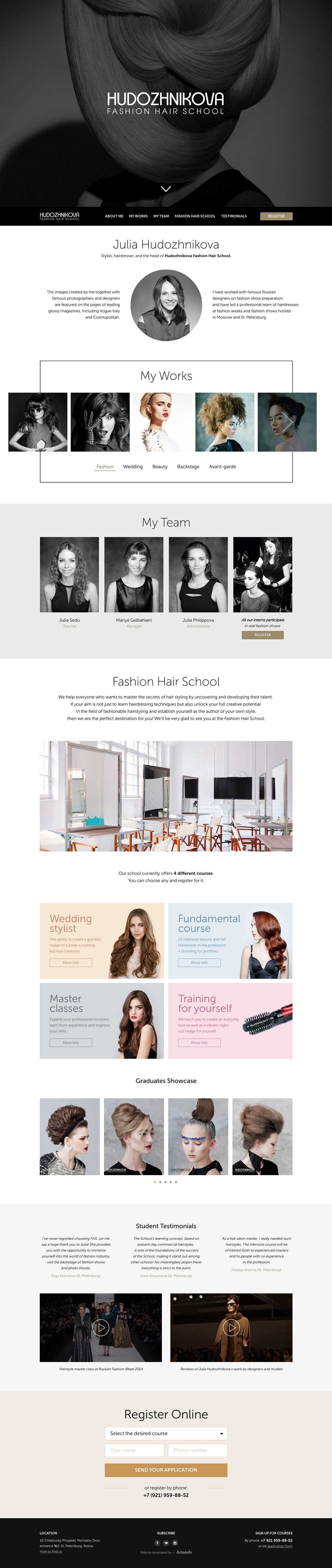 Hudozhnikova Fashion Hair School Website Screenshot