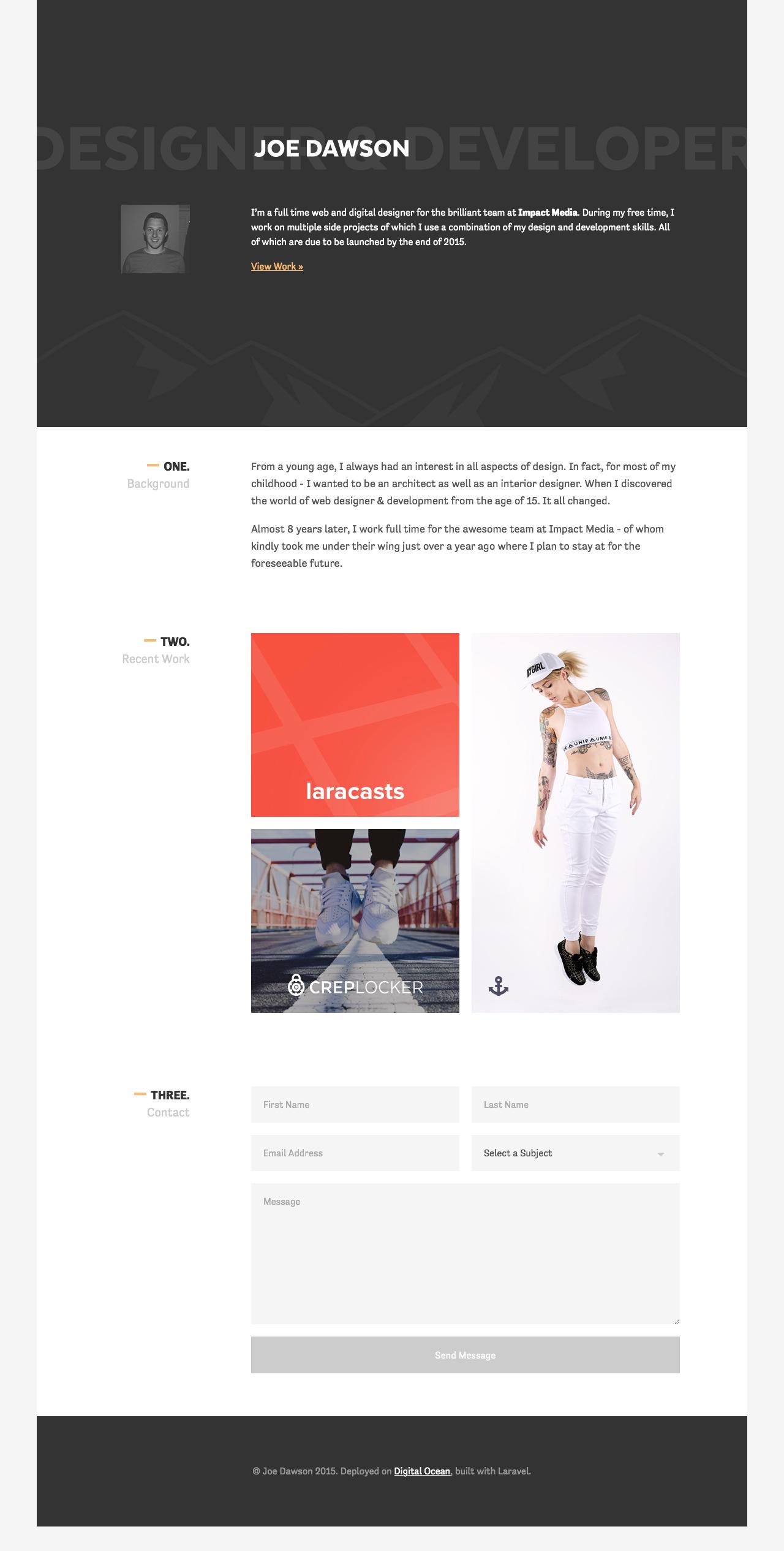 Joe Dawson Website Screenshot