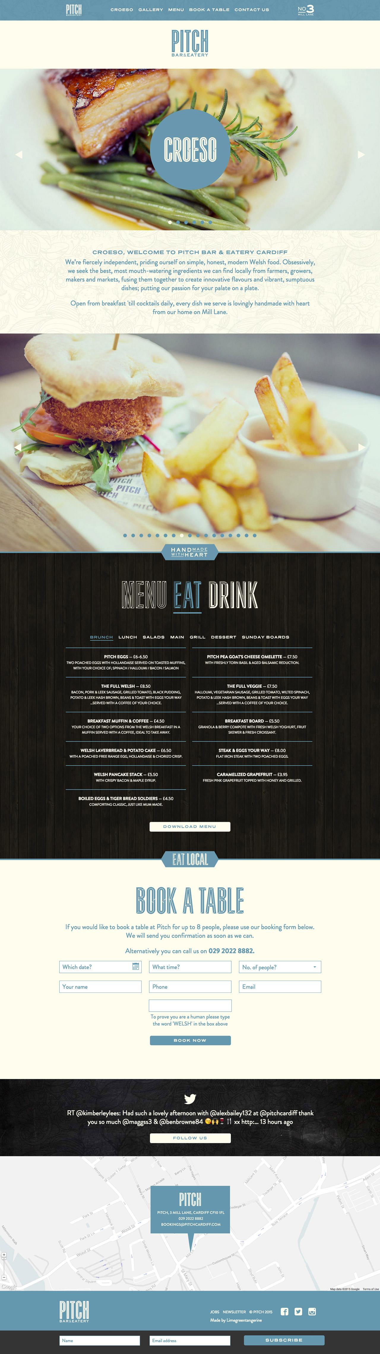 Pitch Bar & Eatery Website Screenshot