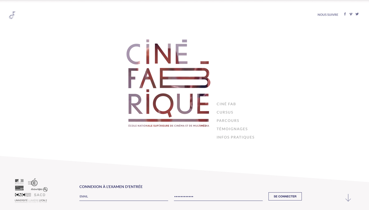 La Ciné Fabrique Website Screenshot