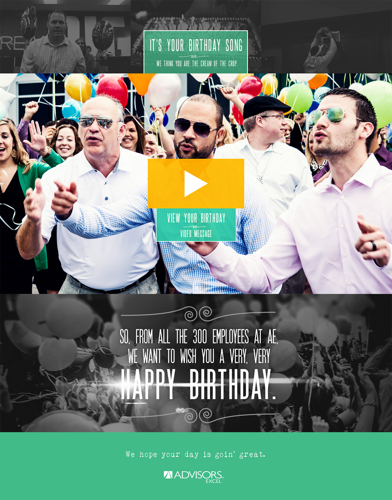 "Advisors Excel ""It's Your Birthday Song"" Website Screenshot"