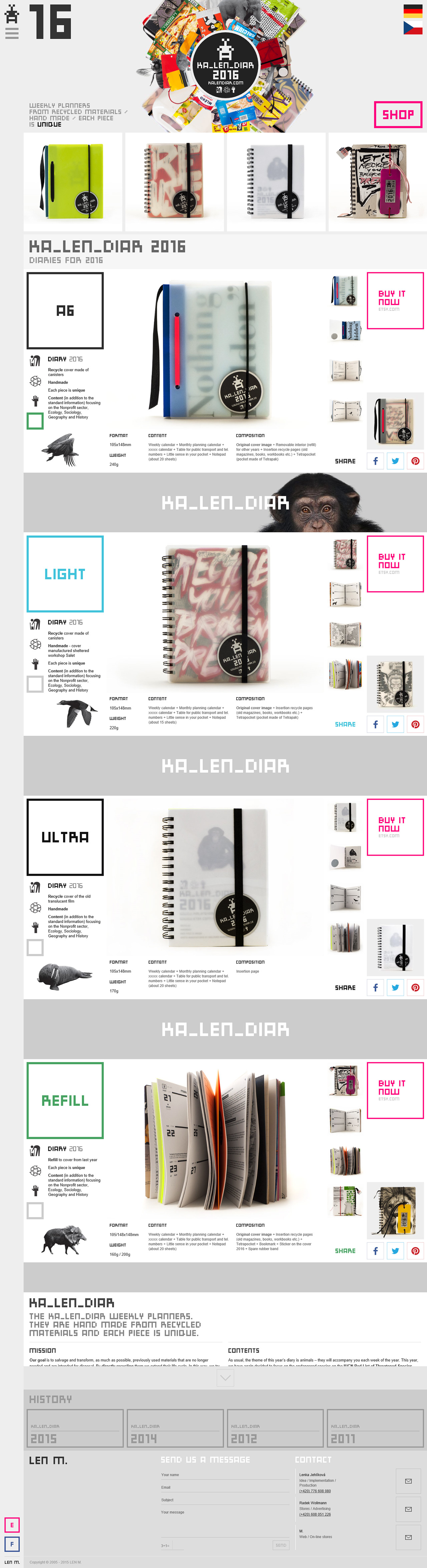 KA_LEN_DIAR – Unique Diaries 2016 Website Screenshot