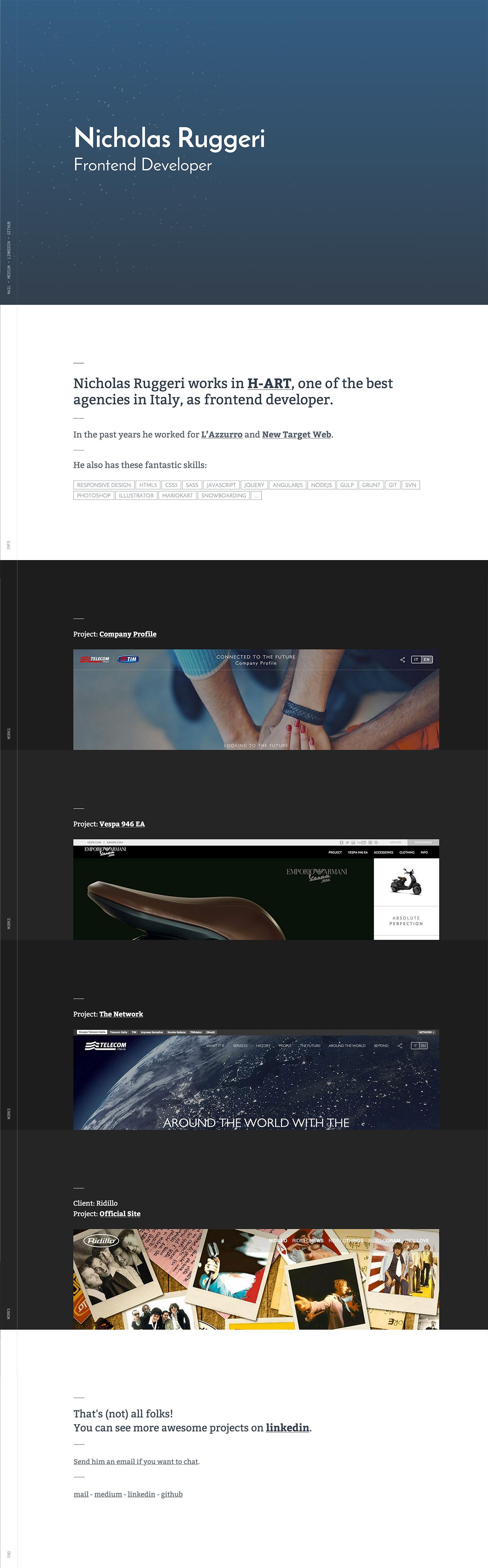 Nicholas Ruggeri Website Screenshot