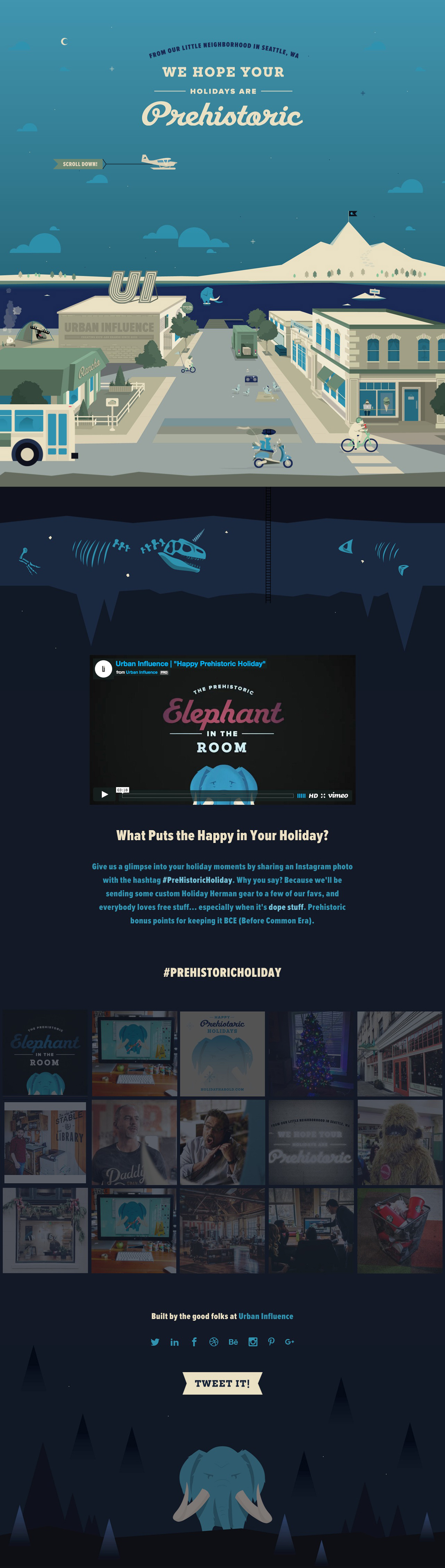 Happy Prehistoric Holidays from Urban Influence Website Screenshot