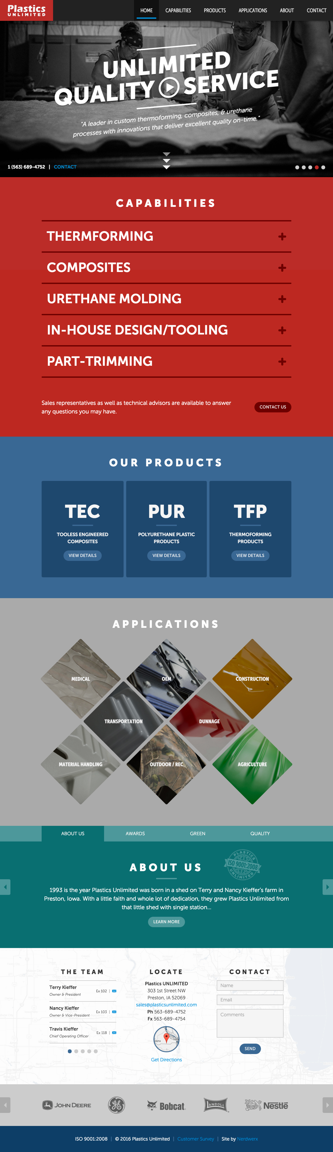 Plastics Unlimited Website Screenshot