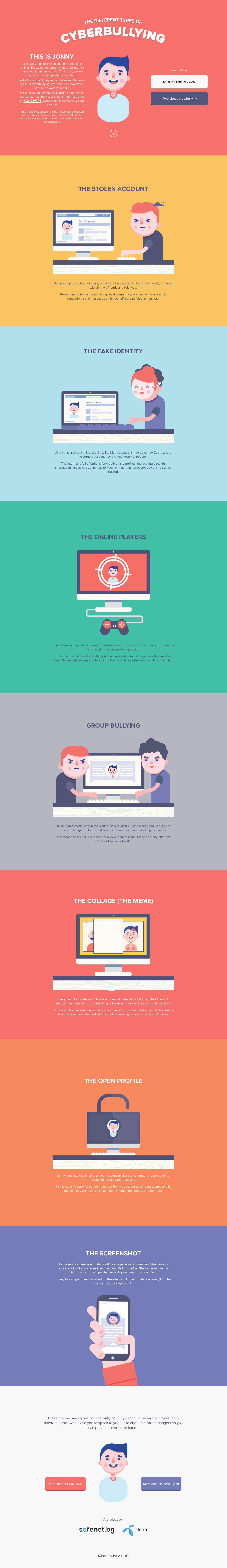 Guide to the types of cyberbullying Website Screenshot