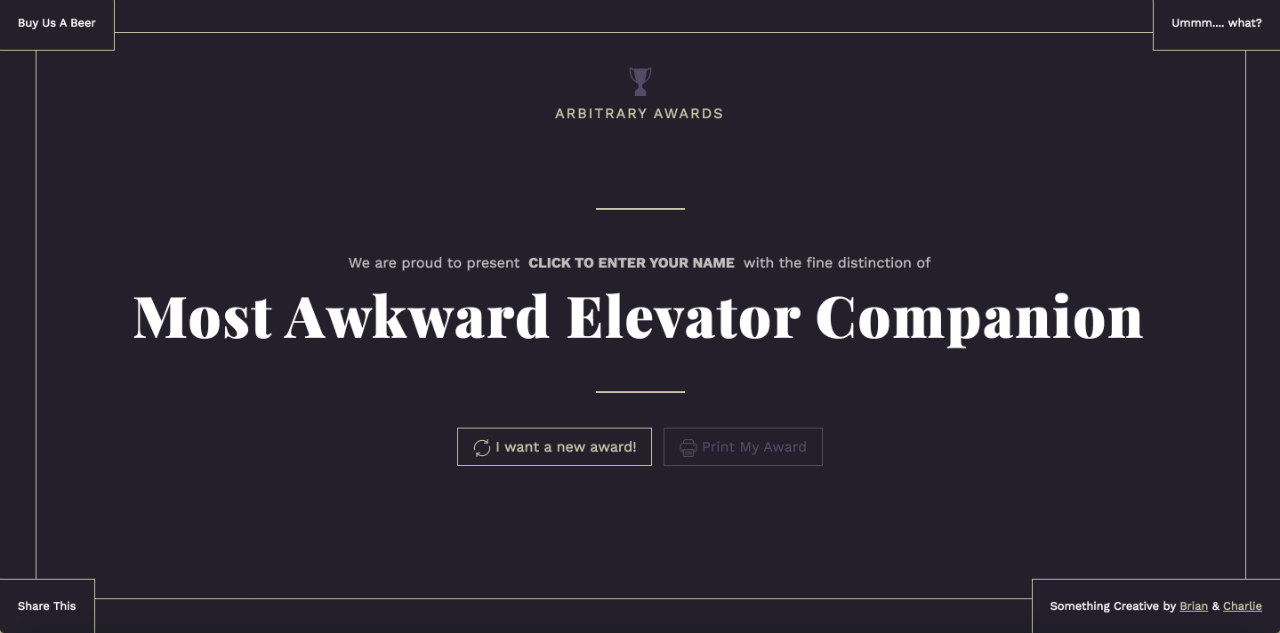 Arbitrary Awards Website Screenshot