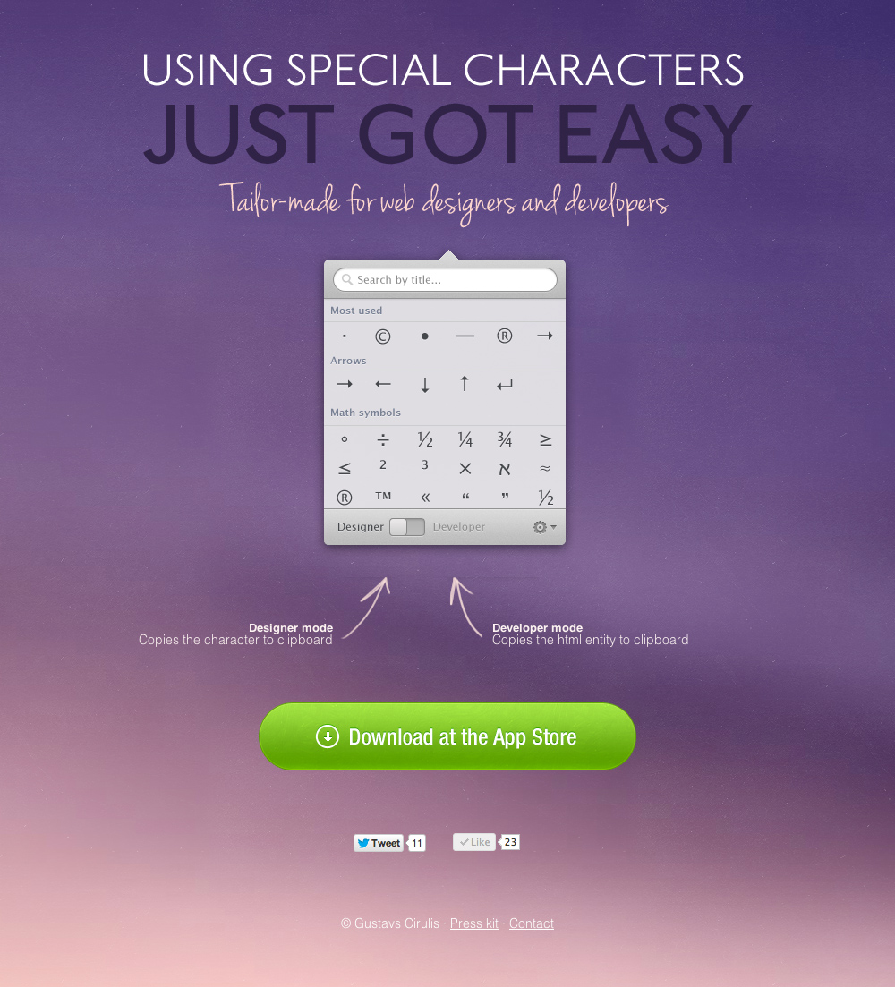 Characters mac app Website Screenshot