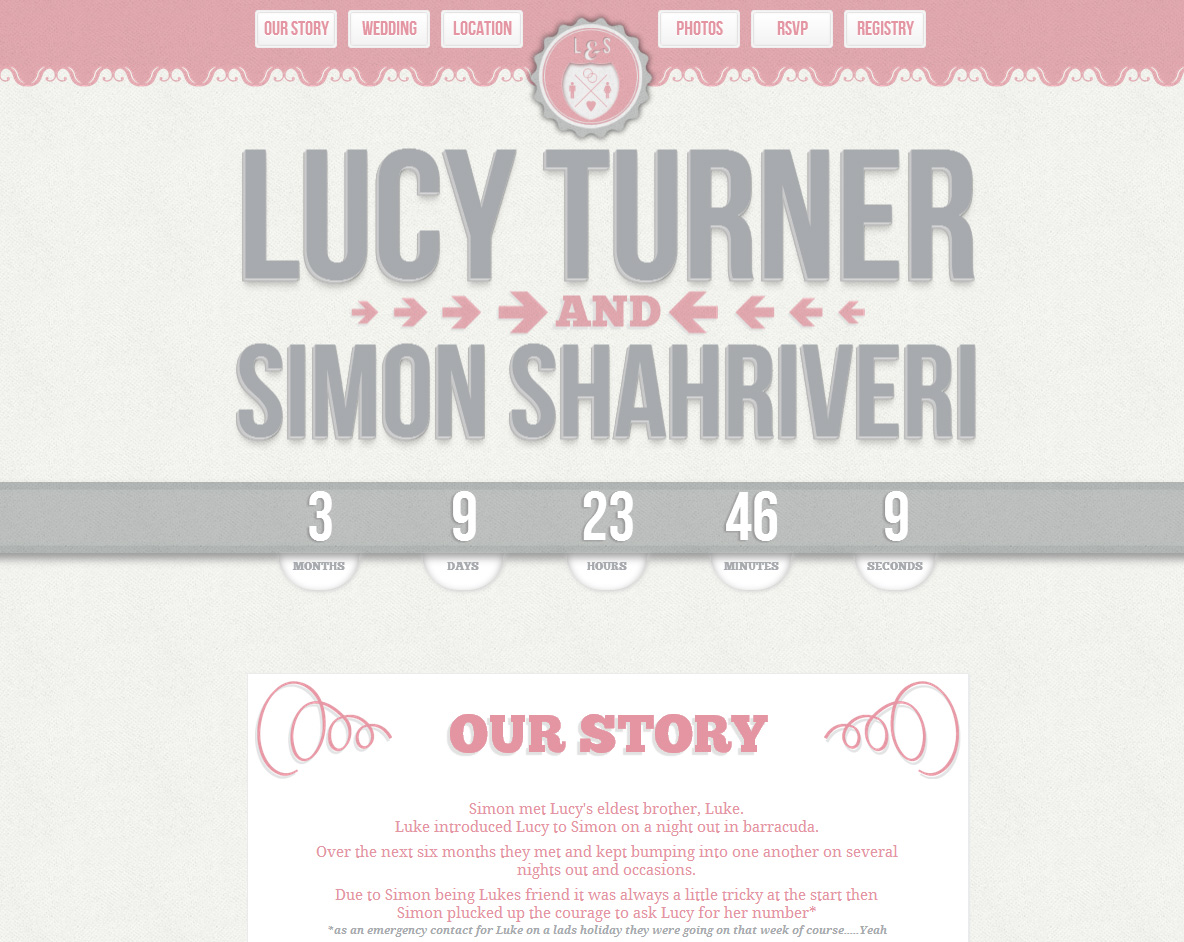 The Wedding of Lucy and Si Website Screenshot