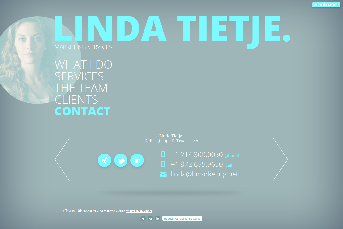 Linda Tietje. Marketing Services. Website Screenshot