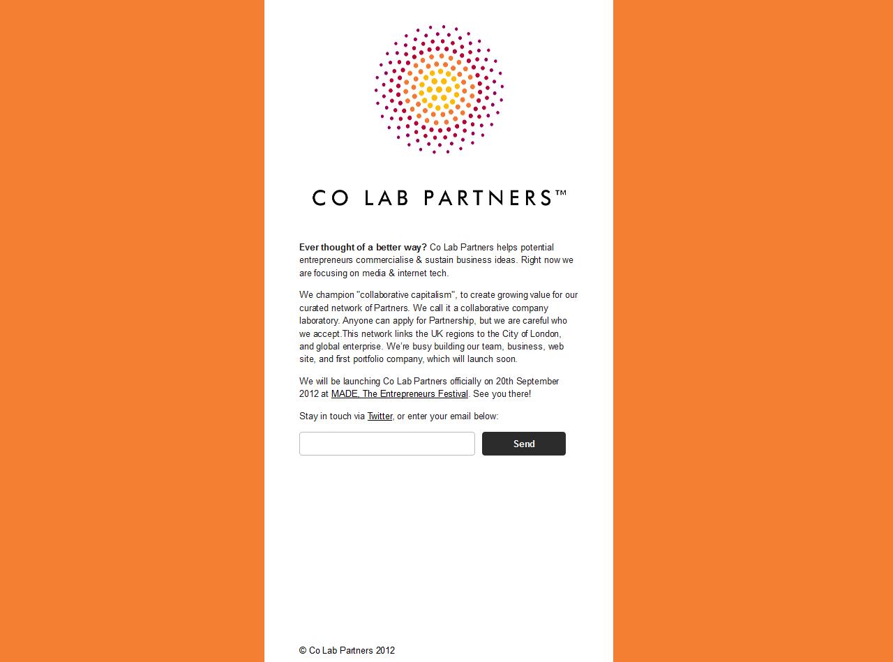 Co Lab Partners Website Screenshot