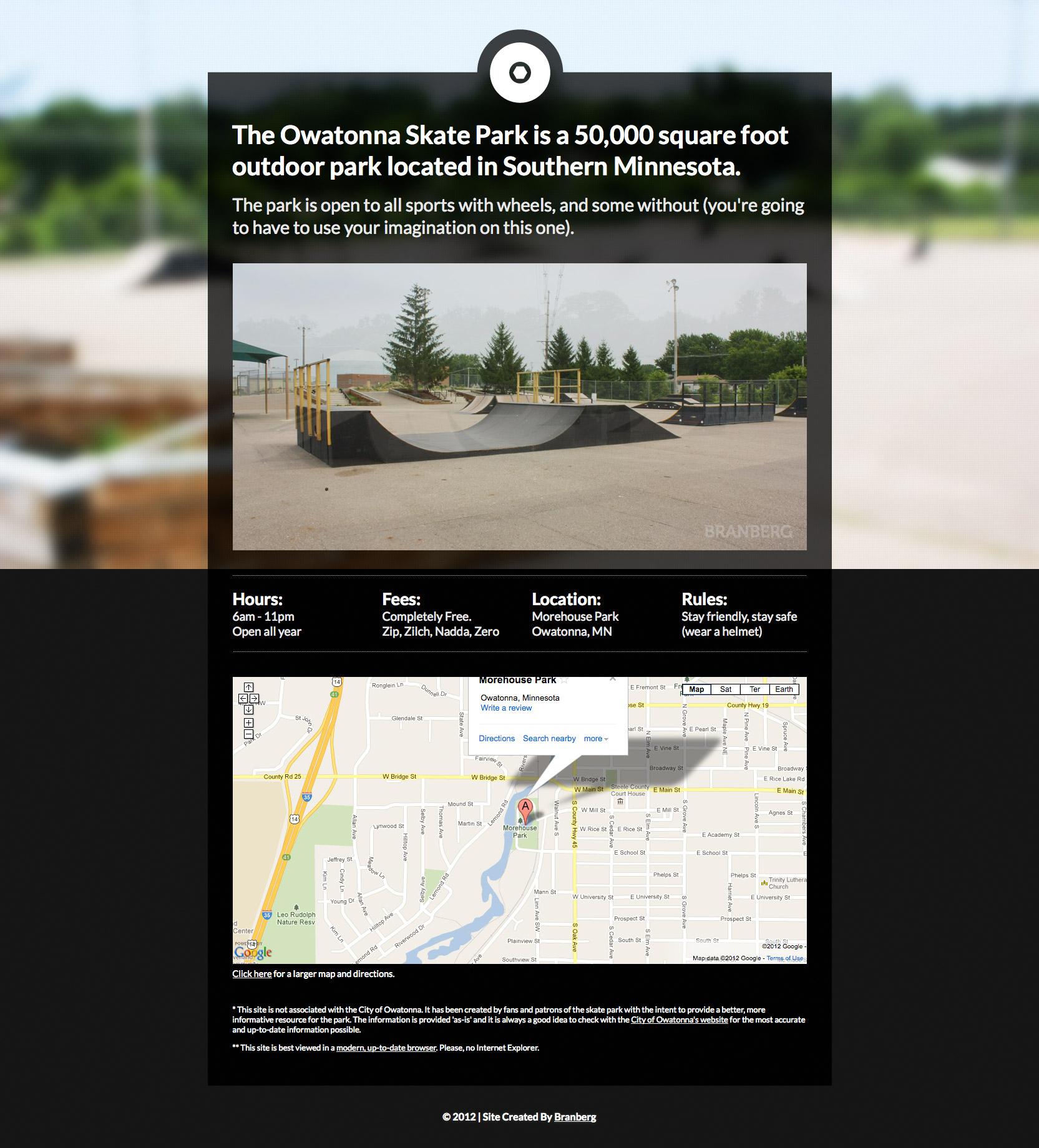 Owatonna Skate Park Website Screenshot