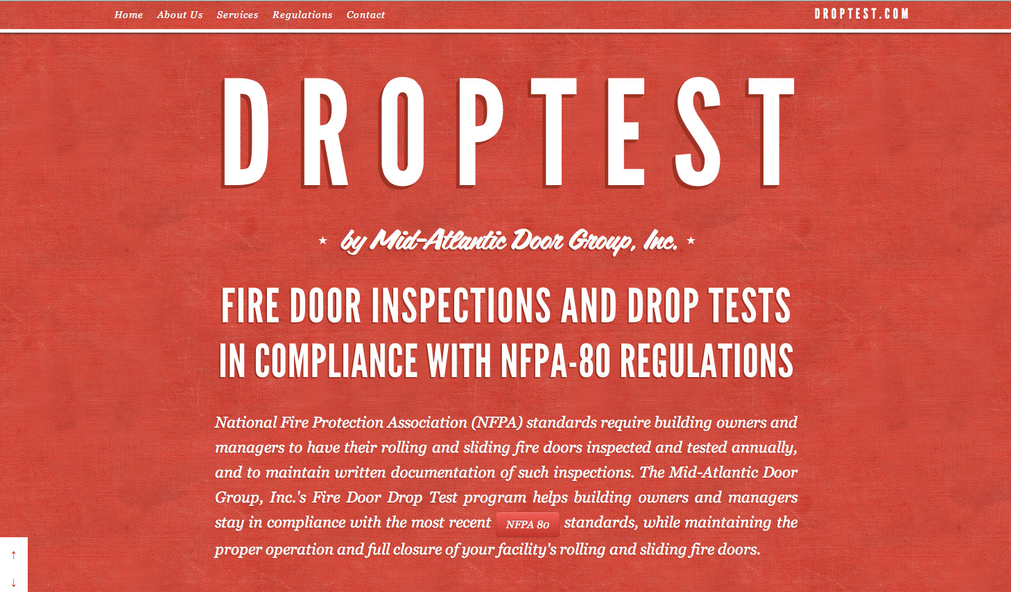 Droptest Website Screenshot