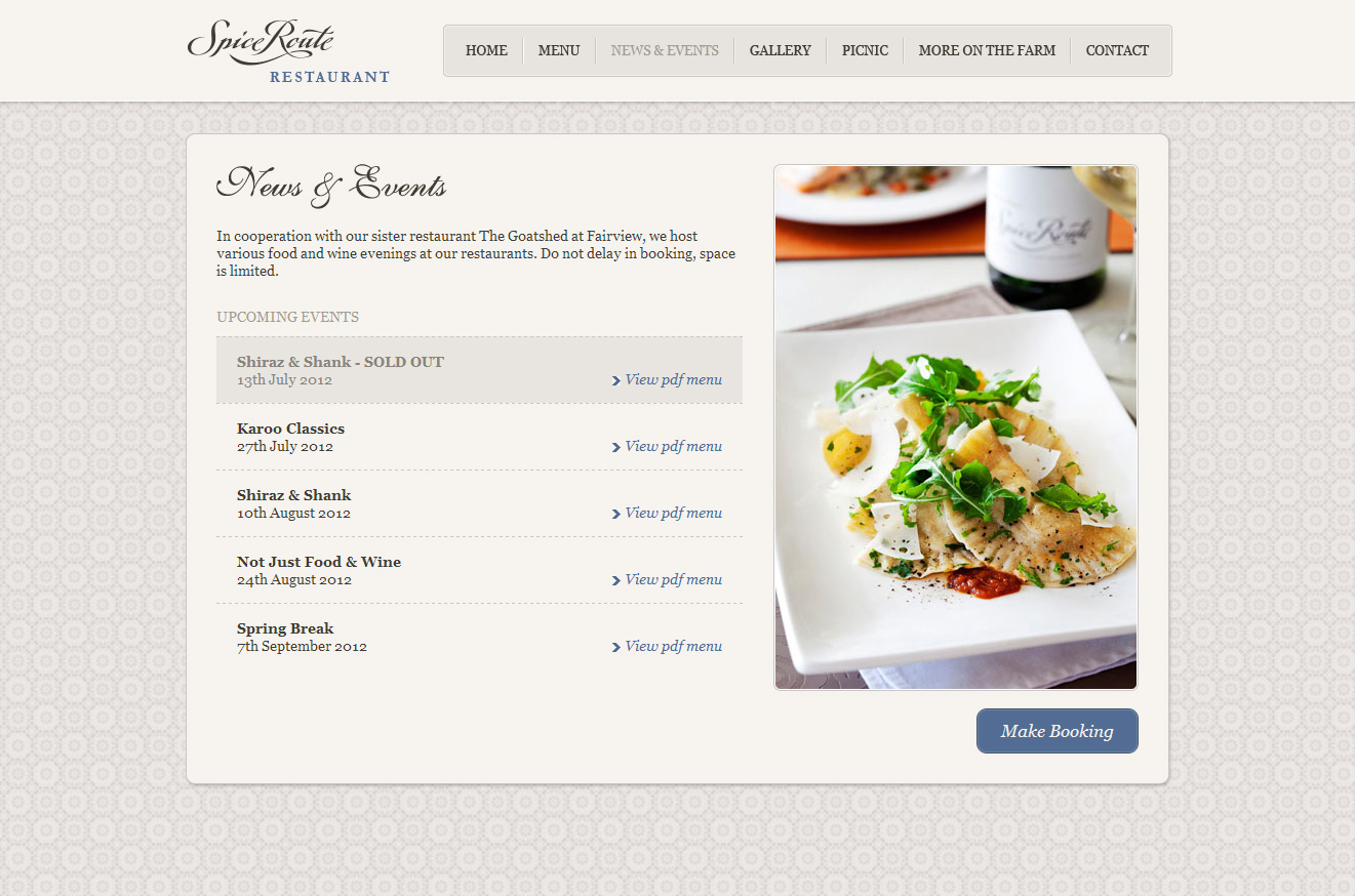 Spice Route Restaurant Website Screenshot