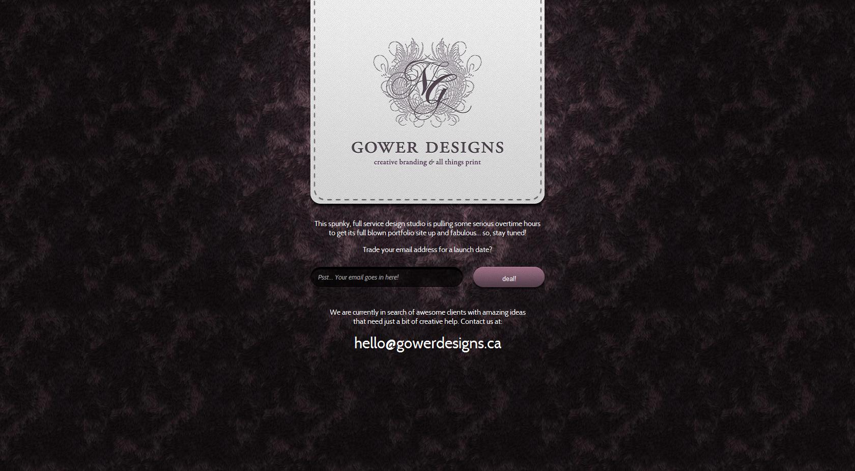 Gower Designs Website Screenshot