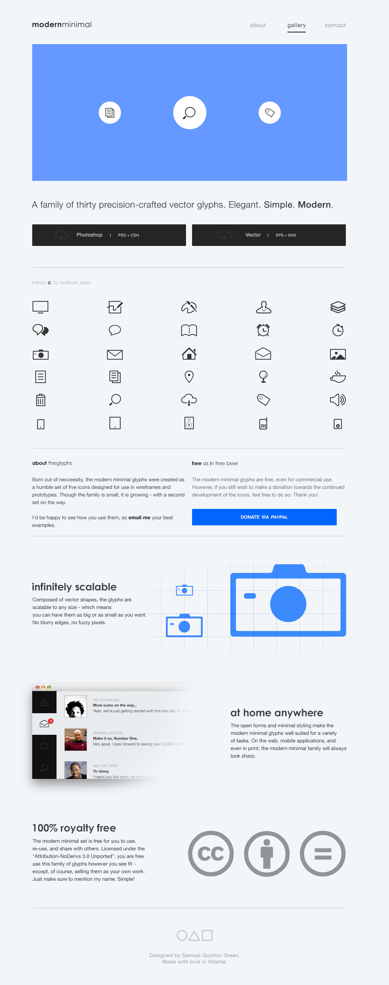 Modern Minimal Glyphs Website Screenshot