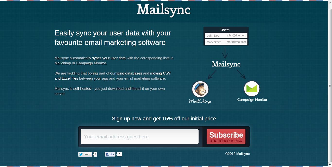 Mailsync Website Screenshot