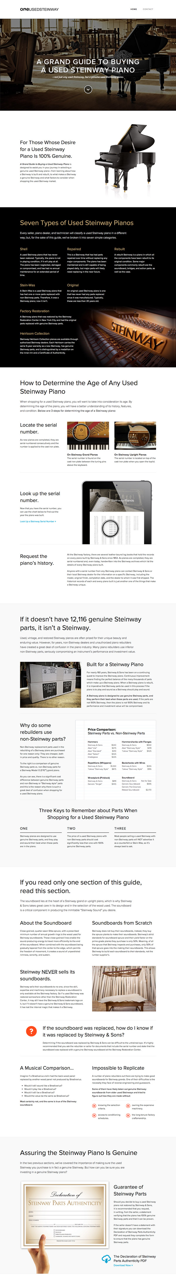 A Grand Guide to Buying a Used Steinway Website Screenshot